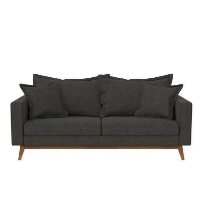 Maryan Pillowback Wood Stretcher Sofa Gray Linen - Room & Joy
