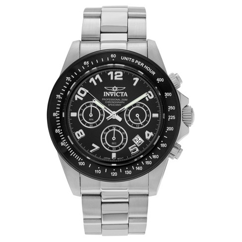 Men's Invicta Speedway 10701 Stainless Steel Chronograph Dial Link Bracelet Watch - Black/Silver - image 1 of 3