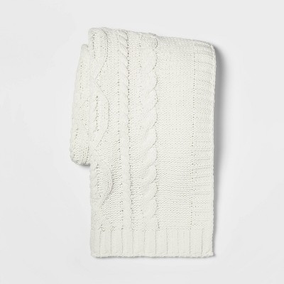 "50""x60"" Cable Knit Chenille Throw Blanket Cream - Threshold™"