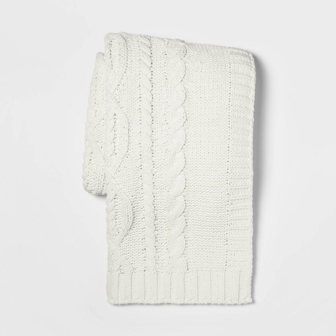 """50""""x60"""" Cable Knit Chenille Throw Blanket - Threshold™ - image 1 of 3"""