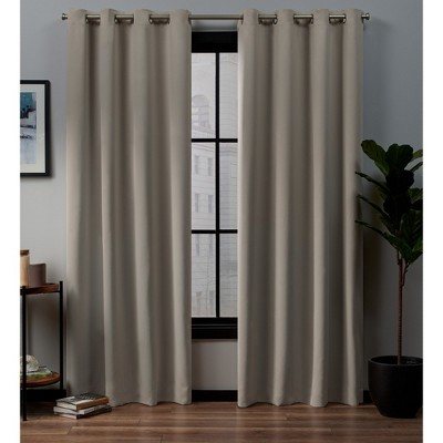"Set of 2 96""x52"" Academy Blackout Grommet Top Curtain Panel Linen - Exclusive Home"