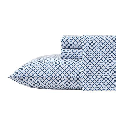 Queen Printed Pattern Sheet Set Blue Net - Scout Home