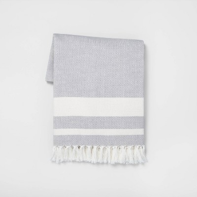 Stripe Throw Blanket Gray + Sour Cream - Hearth & Hand™ with Magnolia
