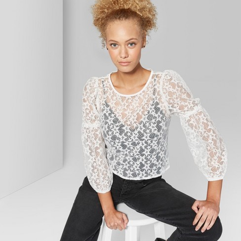 e6d7bc110733b Women s Long Sleeve Star Lace Top - Wild Fable™ White XXL   Target