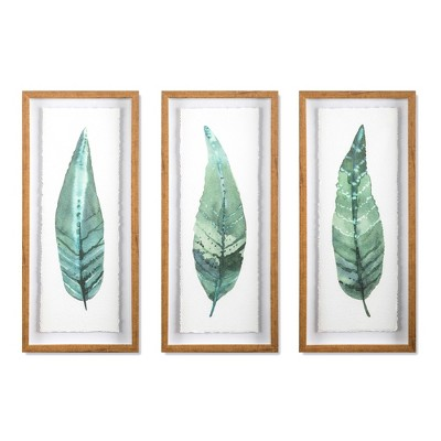 "(Set of 3)28""x12"" Framed Leaves Decorative Wall Art White - Threshold™"
