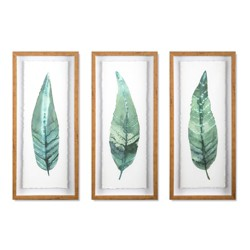 "(Set of 3) 28""x12"" Framed Leaves Decorative Wall Art White - Threshold™"