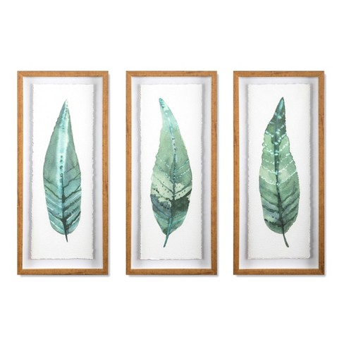 Framed Leaves Decorative Wall Art White