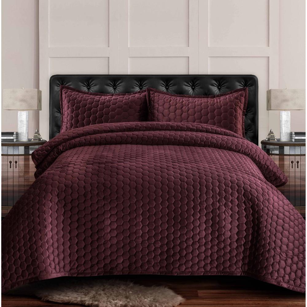 2pc Twin Lugano Honeycomb Velvet Oversized Solid Quilt Set Plum Tribeca Living