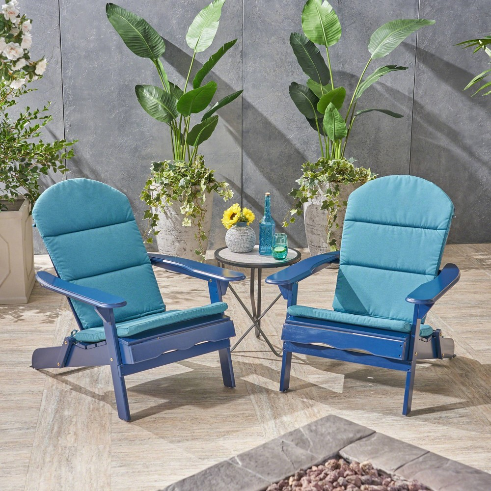 Malibu 2pk Acacia Wood Adirondack Chairs - Blue/Teal (Blue/Blue) - Christopher Knight Home