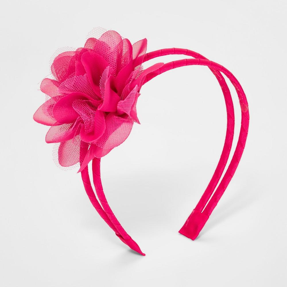 Girls' Mesh Flower Headband - Cat & Jack Fuchsia (Pink)