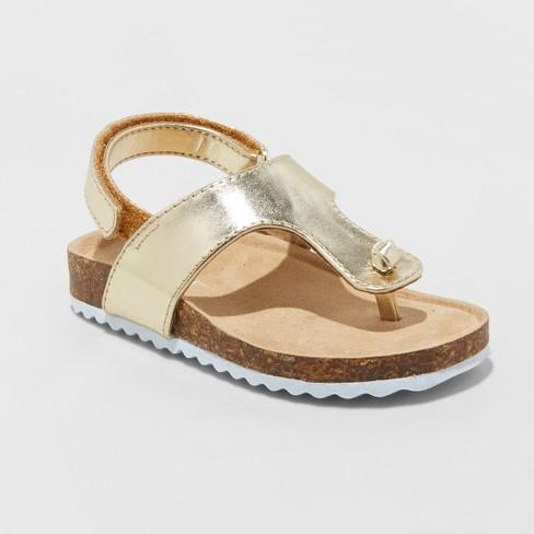 Toddler Girls' Annika Metallic Comfort Footbed Sandals - Cat & Jack™ Gold - image 1 of 3
