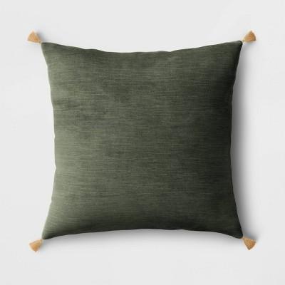Velvet Square Throw Pillow with Tassels Green - Threshold™