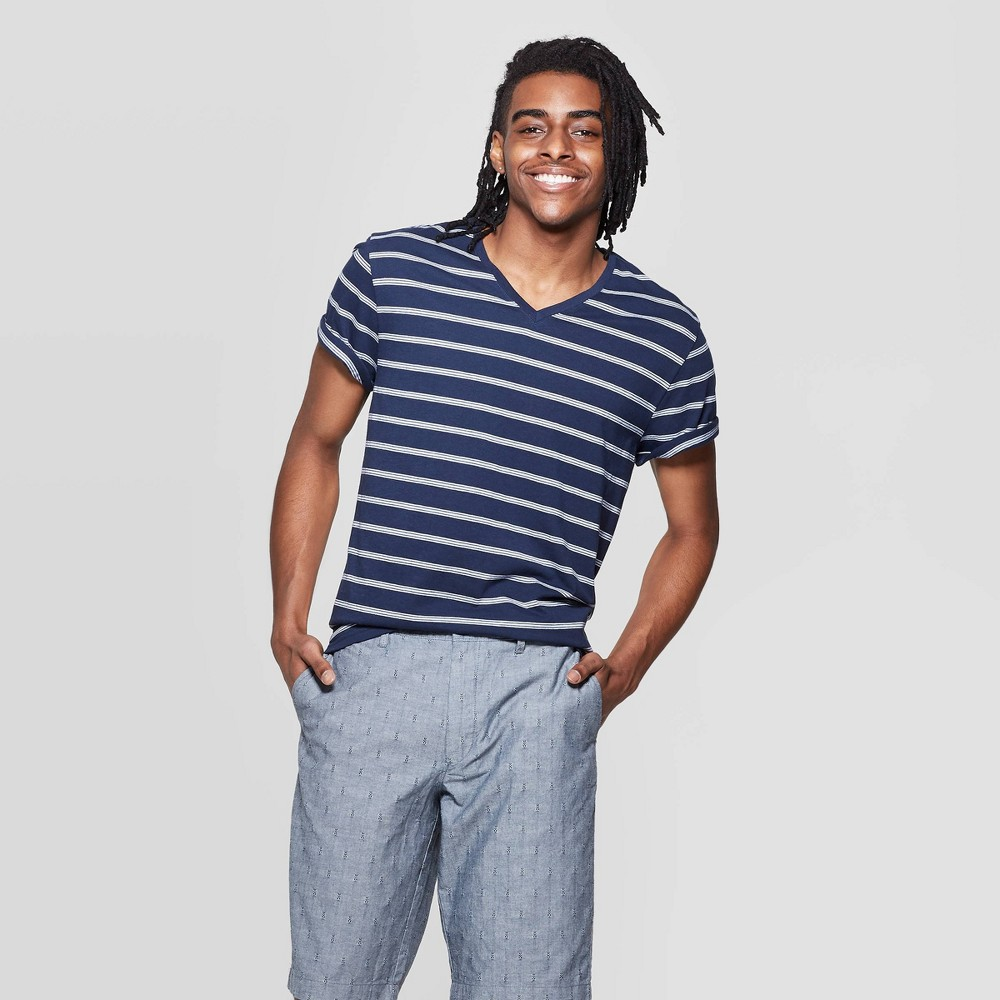 8dc7604866b4 Mens Striped Standard Fit Novelty V Neck T Shirt Goodfellow Co Blue Beam XL