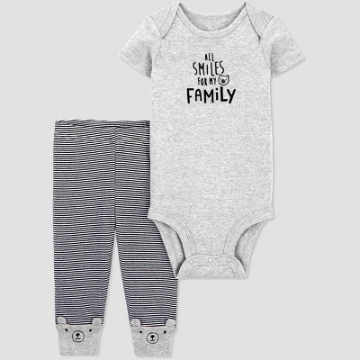 Baby 2pc 'All Smiles For My Family' Bodysuit and Pants Set - Just One You® made by carter's Gray/Black Newborn