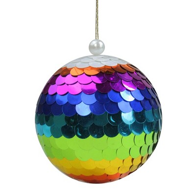 """Northlight Vibrantly Colored Shiny Sequin Rainbow Hanging Christmas Ball Ornament 4.75"""" (120mm)"""