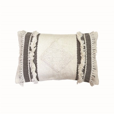 White and Gray 14 x 22 inch Decorative Cotton Throw Pillow Cover with Insert and Hand Tied Fringe - Foreside Home & Garden