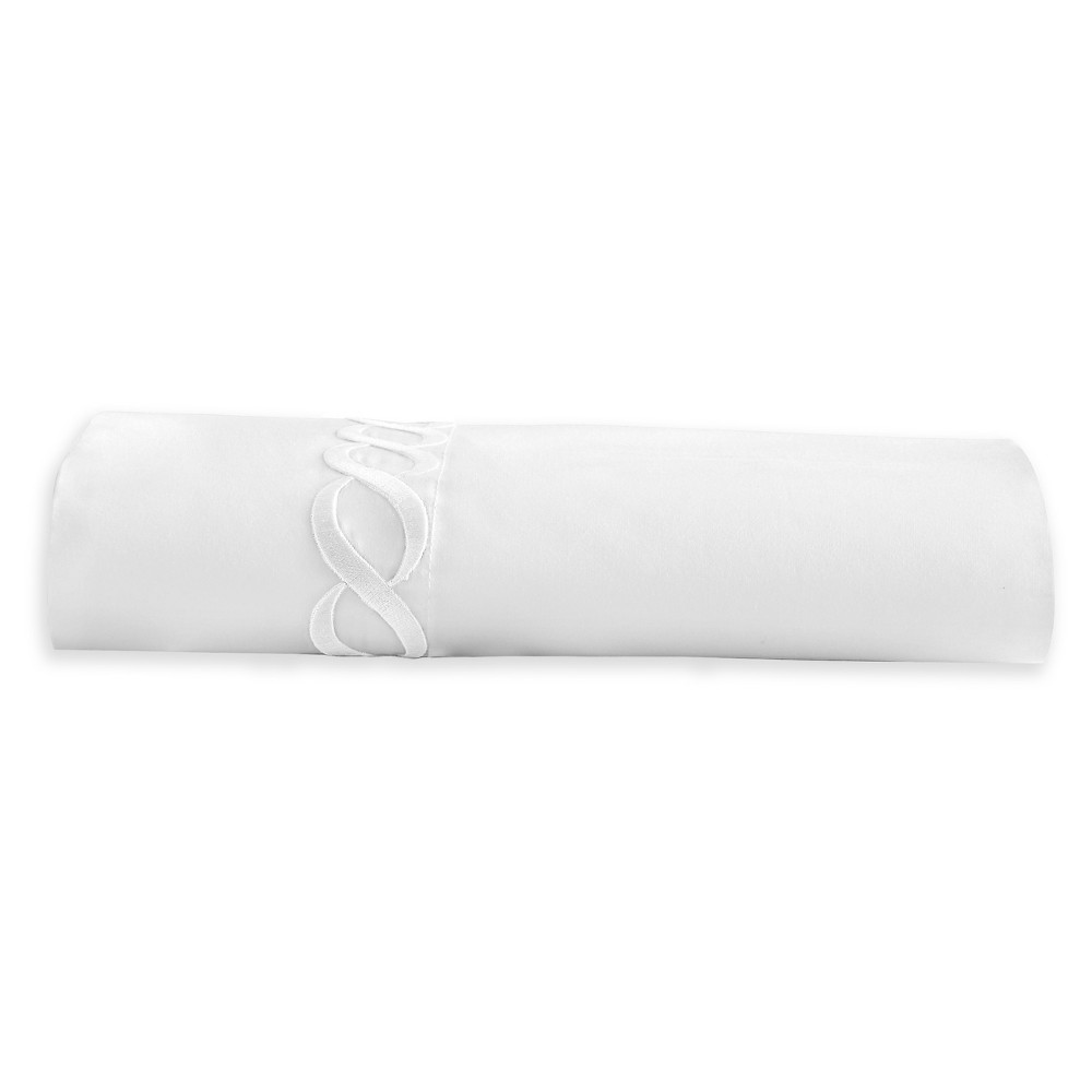 Image of Full/Queen Cable Solid Flat Sheet White - Cassadecor