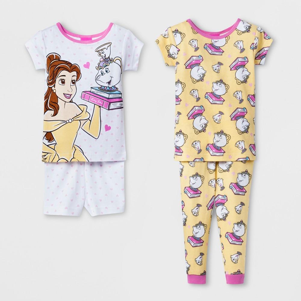 Image of Baby Girls' Disney Princess 4pc Pajama Set - White 12 M, Girl's, Size: 12M