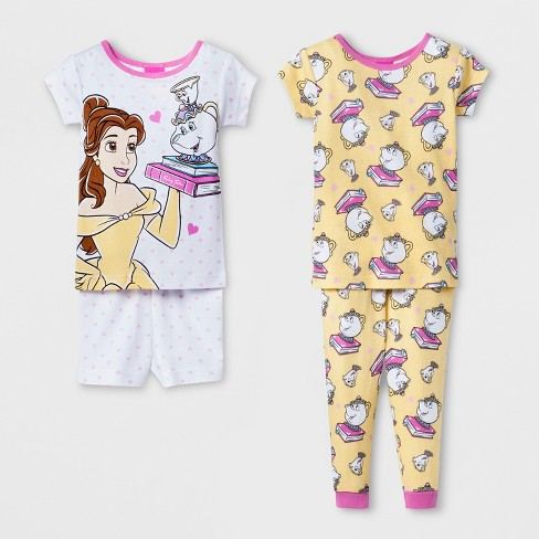 1bea6d9f07e5 Baby Girls  Disney Princess 4pc Pajama Set - White   Target
