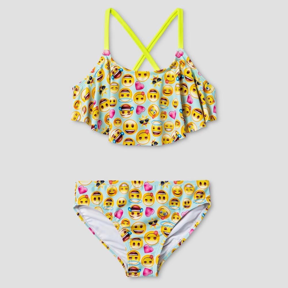 Girls' Smiley Face Emoji Bikini 16, Multi-Colored