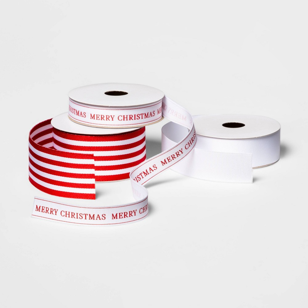 Image of Red & White Grosgrain Assorted Ribbon Set of 3 - sugar paper , White Red