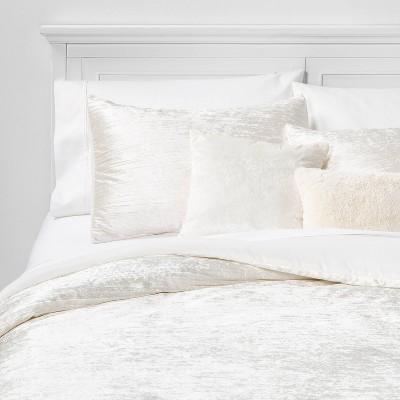 Full/Queen Cortina Crinkle Velvet 5pc Bed Set Ivory