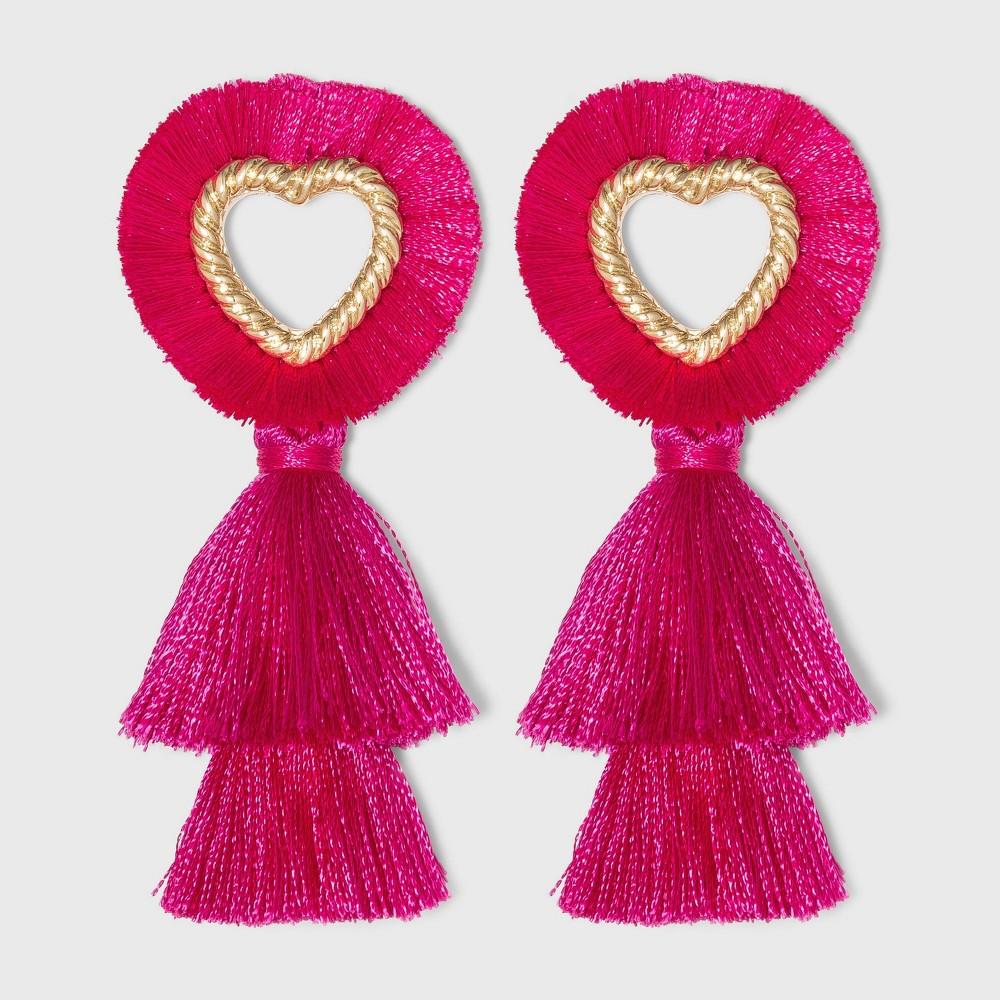 Sugarfix By Baublebar Fringe Heart Tassel Earrings Bright Pink