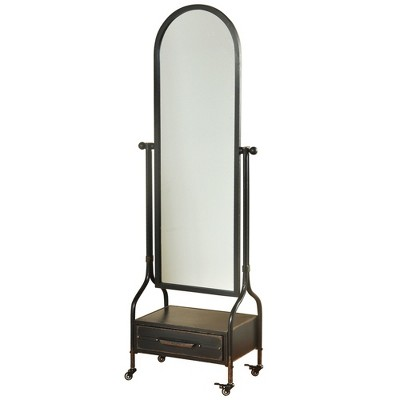 72.4  Cheval with Lower Storage Drawer Blackened Finish Wall Mirror Gray - StyleCraft