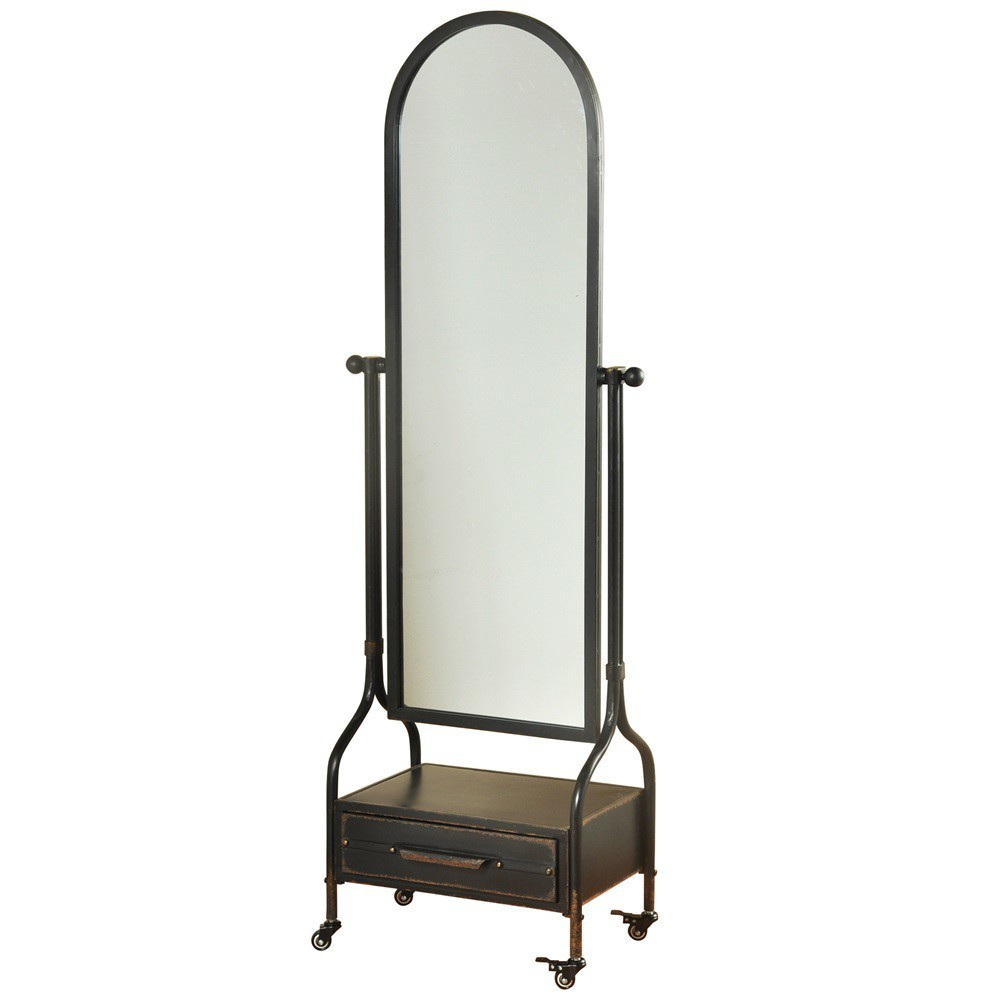 """Image of """"72.4"""""""" Cheval with Lower Storage Drawer Blackened Finish Wall Mirror Gray - StyleCraft"""""""