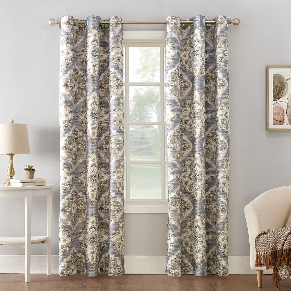 Regina Watercolor Floral Thermal Insulated Grommet Curtain Panel Gray 40