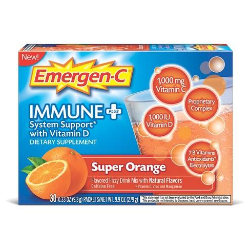 Emergen-C Immune+ Dietary Supplement Powder Drink Mix with Vitamin D, 1000mg Vitamin C - Super Orange Flavor - 30ct - image 1 of 4