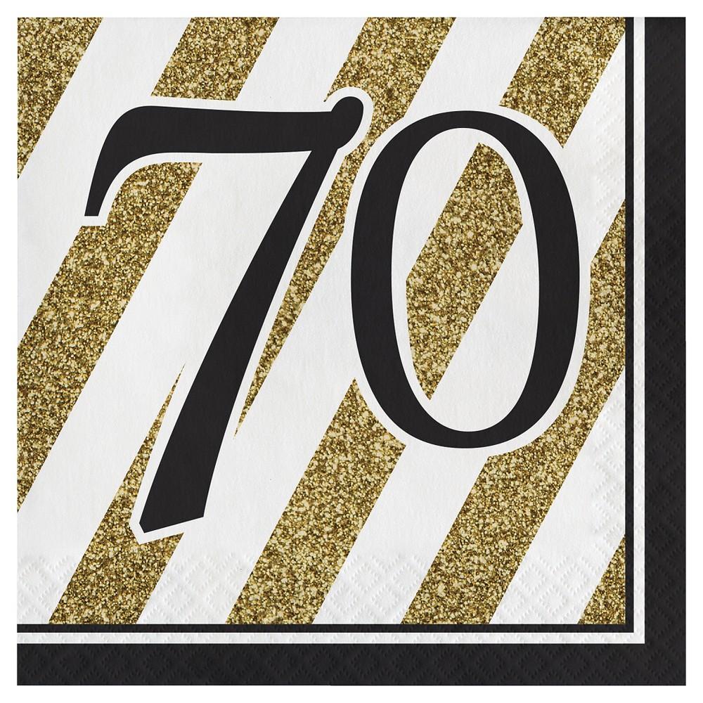 16ct Black & Gold 70th Birthday Napkins