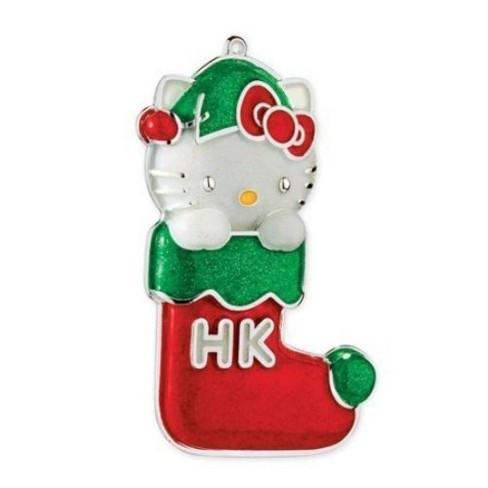 "Carlton Cards 3.5"" Heirloom Sparkly Hello Kitty in Stocking Christmas Ornament - Green/Red - image 1 of 2"