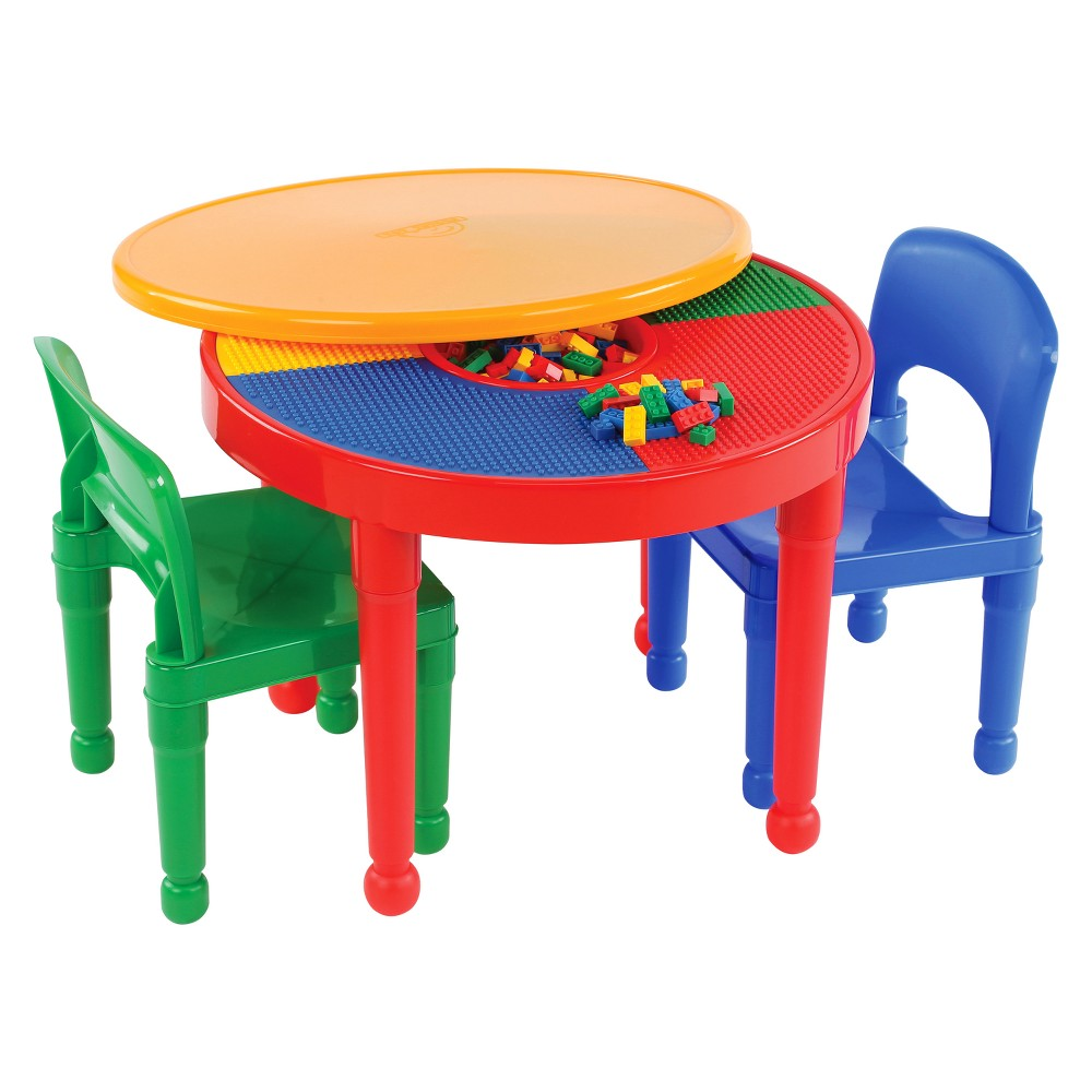 Round Plastic Construction Table With 2 Chairs and Cover - Primary - Tot Tutors, Red