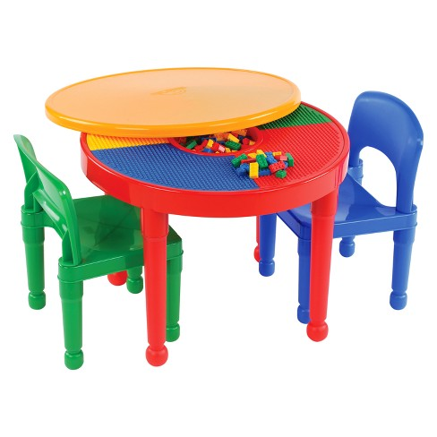 Super Round Plastic Construction Table With 2 Chairs And Cover Primary Tot Tutors Machost Co Dining Chair Design Ideas Machostcouk