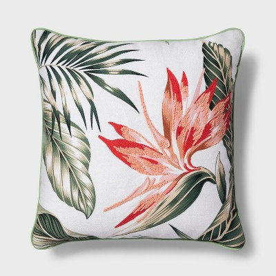 Tropical Floral Square Throw Pillow Coral - Threshold™