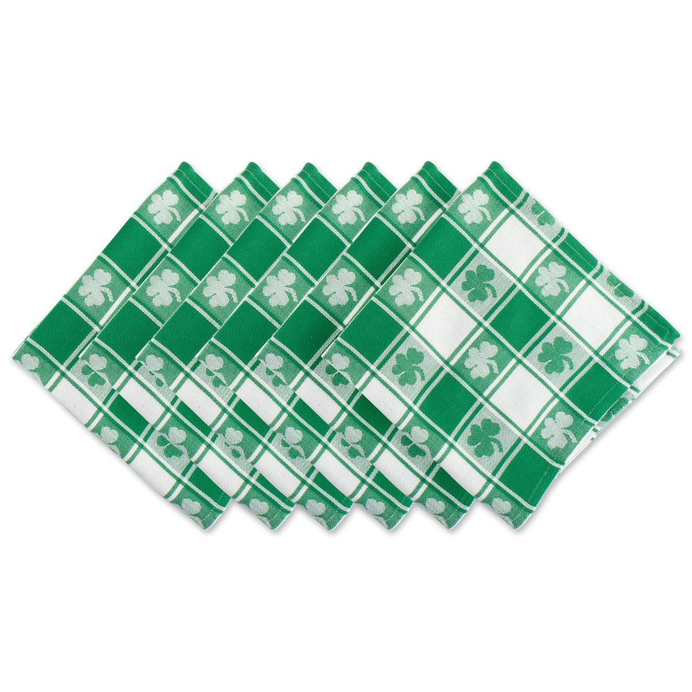 Image of 6pk Cotton Shamrock Woven Check Napkins Green - Design Imports