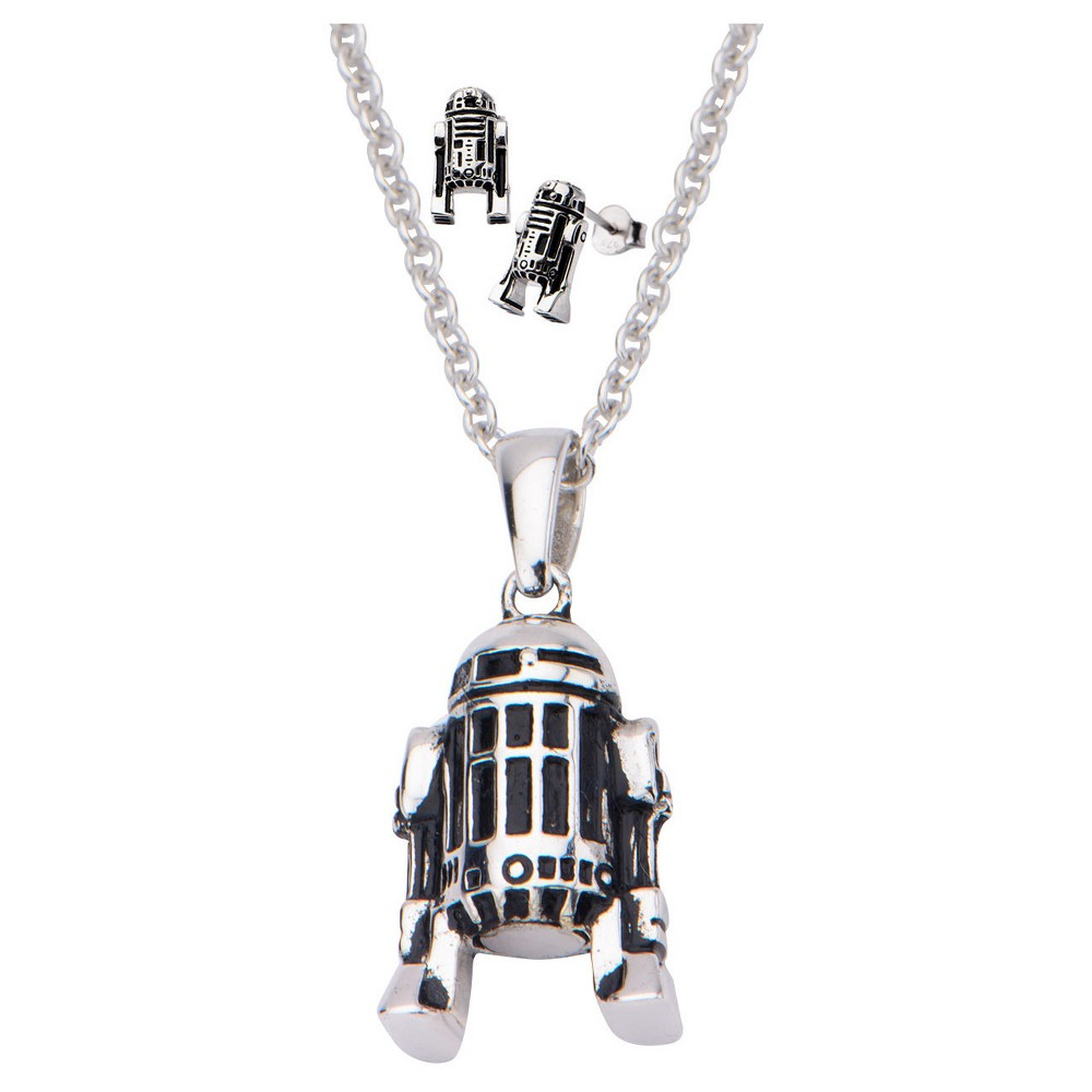 """Image of """"Women's 'Star Wars' R2-D2 925 Sterling Silver 3D Earrings and Pendant with Chain Set (18""""""""), Size: Small"""""""
