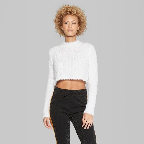 3f2035ca885 Women's Fuzzy Cropped Mock Neck Sweater - Wild Fable™ Fresh White S : Target