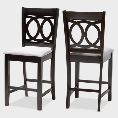 Set Of 2 Lenoir Finished Wood Counter Height Pub Chairs Brown   Baxton  Studio