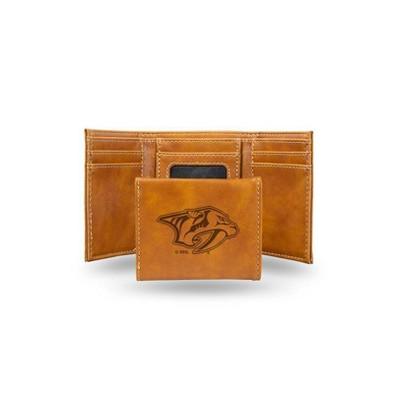 NHL Nashville Predators Laser Engraved Brown Leather Trifold Wallet