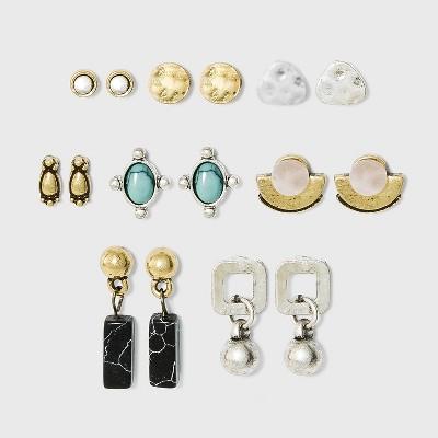 Mixed Geometric and Semi-Precious Multi Earring Set 8pc - Universal Thread™