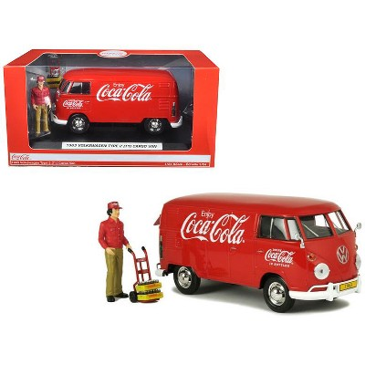 """1963 Volkswagen Type 2 (T1) """"Coca-Cola"""" w/Delivery Driver, Handcart & 2 Bottle Cases 1/24 Diecast by Motorcity Classics"""