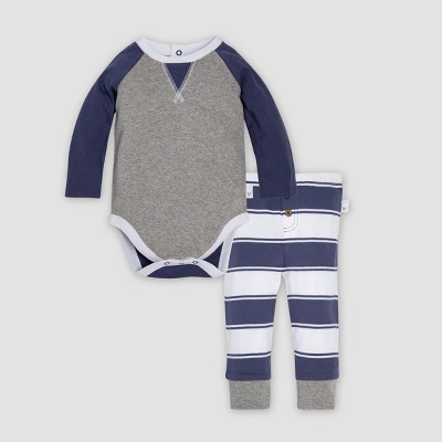 Burt's Bees Baby® Organic Cotton Girls' Raglan Bodysuit & Rugby Peace Stripe Pants Set - Indigo 6-9M