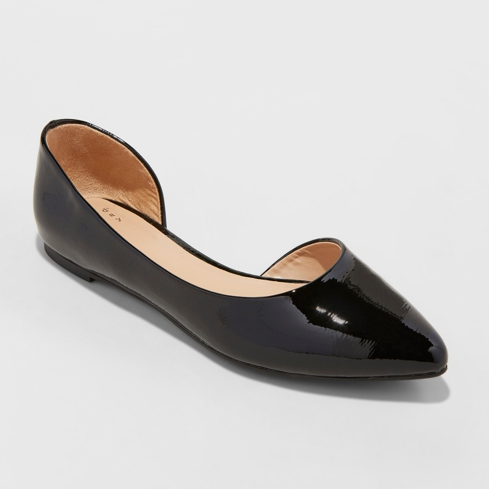 Women's Mohana D'orsay Pointed Toe Ballet Flats - A New Day Black Patent 7