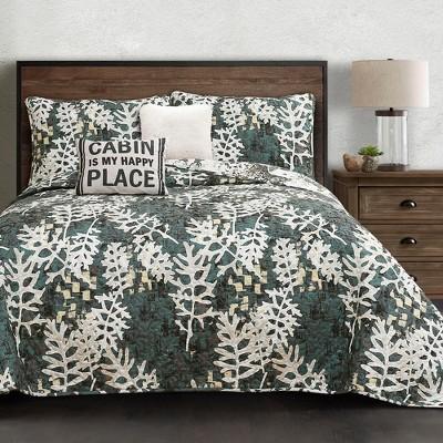 5pc Camouflage Leaves Quilt Set Green - Lush Décor