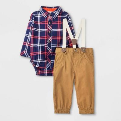Baby Boys' Plaid Top & Bottom Suspender Set - Cat & Jack™ Navy 0-3M