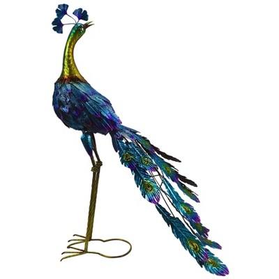 Graceful Metal Peacock Garden Statue - Alpine Corporation