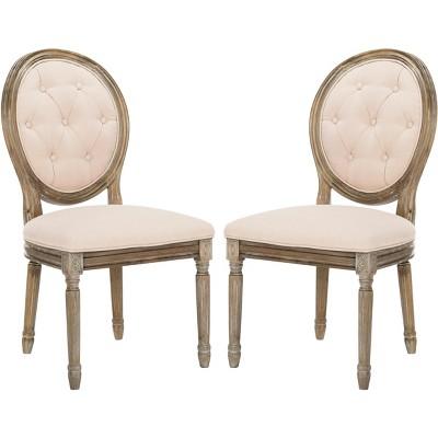 Holloway Tufted Oval Side Chair  (Set of 2) - Beige/Rustic Oak - Safavieh
