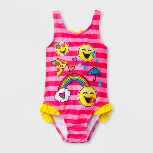Toddler Girls' EmojiNation® One Piece Swimsuit - Pink - image 1 of 2
